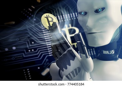 robot mining bitcoin for online banking trading - 3D rendering
