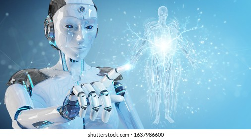 Robot on blurred background using digital x-ray human body holographic scan projection 3D rendering