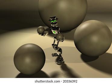 robot playing around some spheres