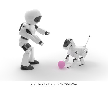 Robot plays with a dog in the ball