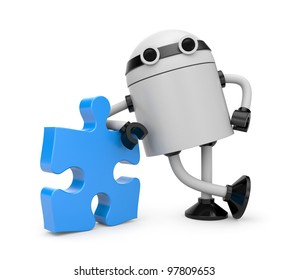 Robot with puzzle. Image contain clipping path