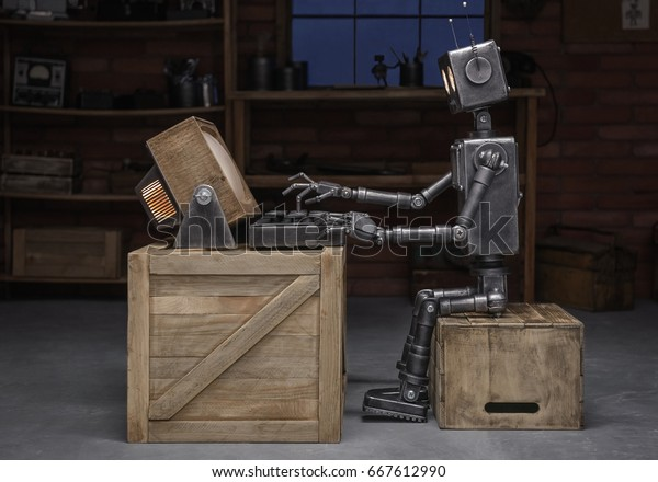 Robot reading a book in the workshop of its creator