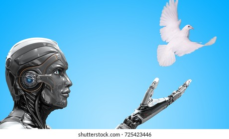 Robot releasing white dove as a symbol of peace. 3d render and mixed media photomanipulation