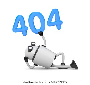 The robot rests and holding the numbers 404 - Page Not Found Error 404. 3d illustration