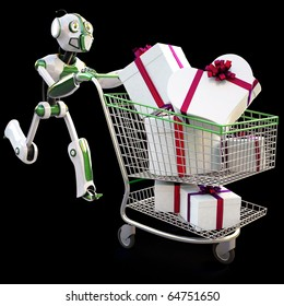 robot runs pushing a shopping cart with gifts. isolated on black including clipping path.