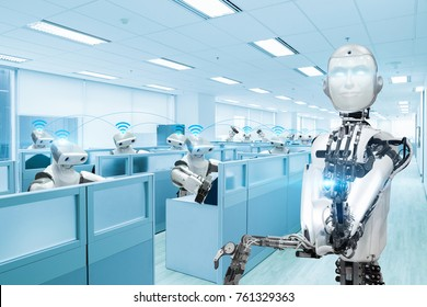 Robot sharing data network in office, Future technology concept