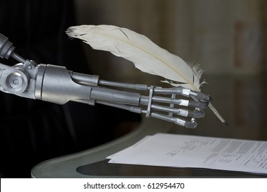 A robot signs a document with a quill pen