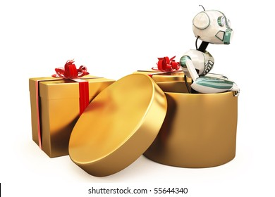robot sits inside a golden box. with clipping path.