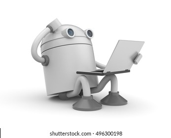 The robot is sitting with laptop and thinking about something. 3d illustration