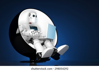 Robot sitting on a chair and holding a laptop. Contains clipping path.
