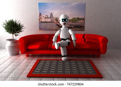 Robot sitting on a sofa, 3d rendering (original image is mine)