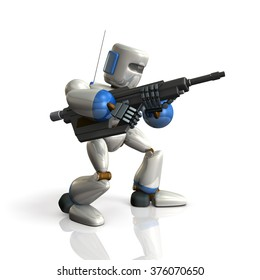 Robot Soldier sets up a rifle. isolated, computer generated image