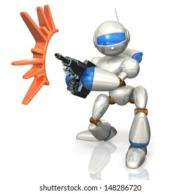 Robot soldiers took up rifle. This is a computer generated image,on white background.