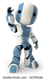A robot standing up straight and waving at the viewer in a friendly manner.
