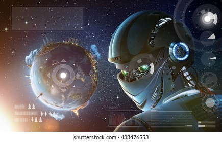 Robot stylish looking back with planet Earth from space. Future technology concept, artificial intelligence. Elements of this image furnished by NASA