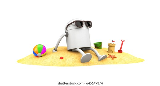 Robot in sunglasses sunbathe. 3d illustration