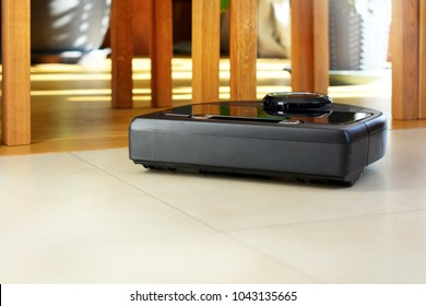A robot technology vacuum cleaner cleaning home