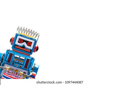 robot tin toy on white background .