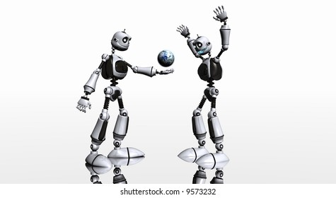 Robot toon bot gives planet to friend