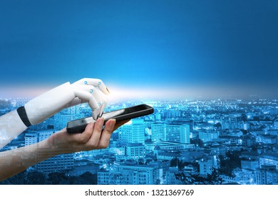 Robot touch smartphone hand system concept finger about to human hand finger technology on city background