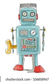robot  toy, art hand drawn,toy art,robot vintage,cute. line art illustration