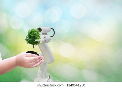 Robot tree environmental Industrial tree in the arm future