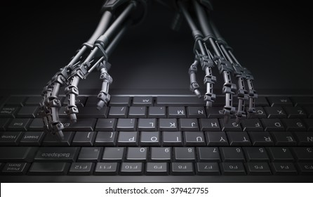 Robot typing on a computer keyboard - automation and AI research concept illustration