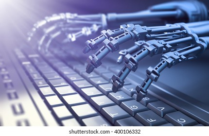 Robot typing on a computer keyboard - automation and AI research concept 3D illustration