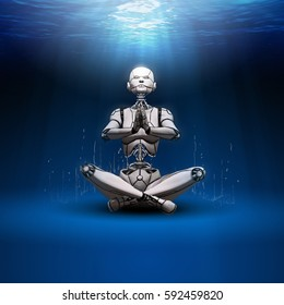 The robot in an unknown and strange reality under the water