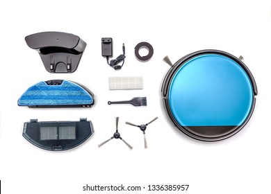 Robot vacuum cleaner parts and attachments isolated on white background