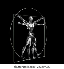 Robot - Vitruvian: A futuristic male humanoid robot in a Leonardo da Vinci Vitruvian style pose.  45 degree angle. Isolated on a black background