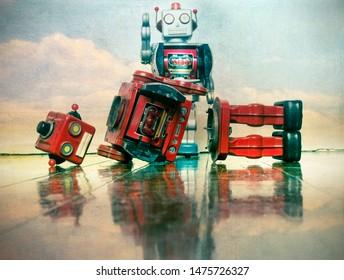 robot wars red robot defeated on old wooden floor sky