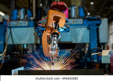 Robot welding is welding assembly automotive part in car factory
