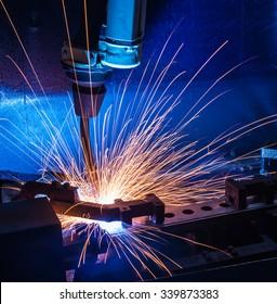 Robot welding movement Industrial automotive part in factory