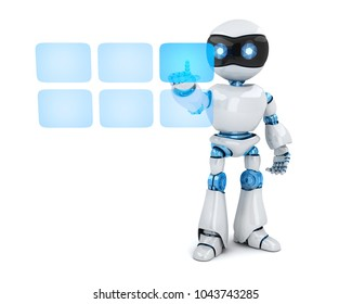 Robot white and buttons hologram. 3d illustration