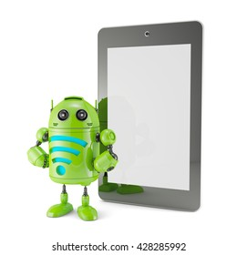 Robot with WiFi symbol and blank screen tablet. 3d illustration. Isolated.