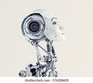 Robot woman in profile 3d render
