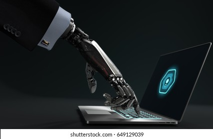 Robot working on laptop. 3D illustration