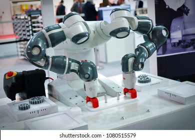 The robot YuMi, The world's first truly collaborative two-arm robot. Turin, Italy - April 2018.
