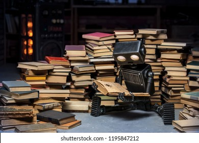 Robot-child reading a book in the workshop of its creator