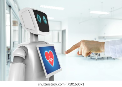 Robotic advisor service technology in healthcare smart hospital , artificial intelligence concept. Doctor finger point to 3d rendering robot.