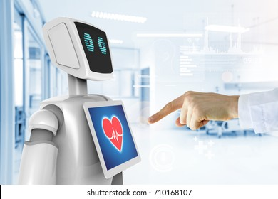 Robotic advisor service technology in healthcare smart hospital , artificial intelligence concept. Doctor finger point to 3d rendering robot and graphics.Blue tone image.