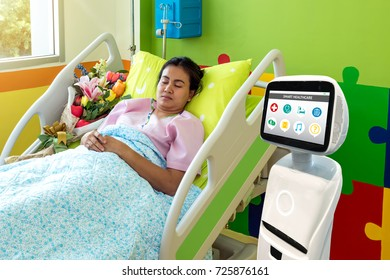 Robotic advisor service technology in healthcare smart hospital , artificial intelligence concept. Robot in patient room.