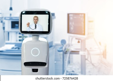 Robotic advisor service technology in healthcare smart hospital , artificial intelligence concept. Operating room and service robot display telemonitoring with professor doctor with flare light.