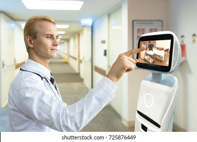 Robotic advisor service technology in healthcare smart hospital , artificial intelligence concept. Professor doctor and service robot display telemonitoring patient room.