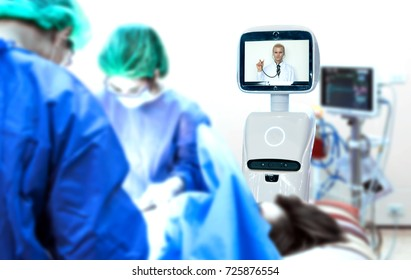 Robotic advisor service technology in healthcare smart hospital , artificial intelligence concept. Surgury Doctors in operating room and robot display telemonitoring with professor doctor.