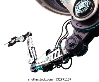 Robotic arm 3d illustration isolated on a white background