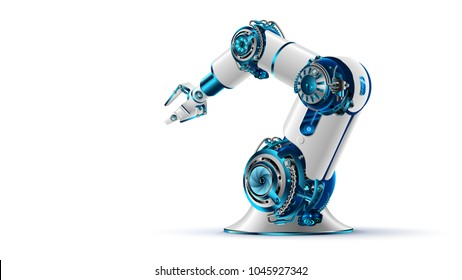 robotic arm 3d on white background. Mechanical hand. Industrial robot manipulator. Modern factory industrial technology.