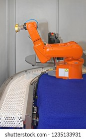Robotic Arm at Automated Production Line in Factory