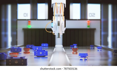 robotic arm conveyor selection. 3d illustration